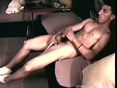 While watching an Asian chic get fucked on the TV, straight boy Dante strips naked and gets hard quickly. Vinnie moves in and starts sucking his cock and he responds with his usual intensity, edging close to popping several times. Then Dante jerks himself off and pumps a cum load on his chest.