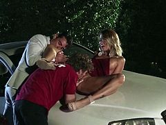 Jessica Drake loves the outdoors. When her friends suggested they go for a drive, she asked them to pull her over, so she could soak in her natural surroundings. But the nature walk turned into a hot threesome and before Jessica knew it, she was getting fucked by two hot blokes.