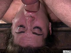 First, he fucked her sweet mouth, wanting to lube his big cock, before entering her tight cunt from behind. Brunette babe had no way to refuse and only the opportunity to relax, and try to enjoy this fat penis drilling her pink pussy