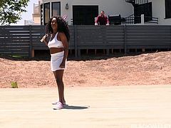 Hot black babe Daya has just finished tennis practice, but it isn't time for her to rest yet. This bearded hunk is putting some moves on her, and she isn't about to say no. Watch Daya bare her luscious titties, and open her mouth wide to take a hard white cock deep in her hungry mouth.