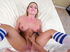 This sexy babe gets her wet pussy jackhammered by the hunk's cock. He is going to pound her cunt for hours and the only break she will get, will be to suck on his huge and throbbing member. What hot sex this is!