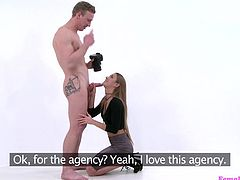 Luke wants to be the leading male porn star of a generation, so she heads to his agent's office and tries out for the newest role. She inspects his hunky body and sees how long he can maintain an erection by sucking on his hard cock. She opens up her legs nice and wide, and he eats her out, and fucks her deep.