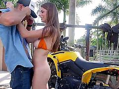 Naturally busty hottie Dillion Carter in barely there tiny bikini shows off her huge titties and then takes dude's love torpedo up her wet  shaved snatch. She has a hot time riding hard dick outdoors.