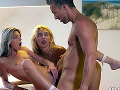 Horny babes Gina and Katrin are engaging in a bit of pussy licking, when they are interrupted by silver fox Lutro, who wants to get in on the action. They agree that three's definitely a party, and a fun party it turns out to be, where they take turns sucking his dick, and getting fucked by him.