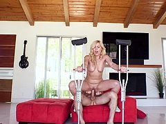 She may have got in an accident and have to use crutches, but that isn't going to stop her from fucking. She is in need of a big cock in her vagina. Look at how the beautiful blonde rides that big member.