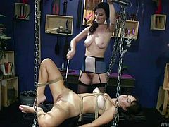 I must admit that women are incomparably more inventive when it comes to punishing sex. Their imagination knows no boundaries, and a perverted and insulted self-love knows no mercy. Just take a look at Cherry and Alana and you will understand what I mean. Lesbian ass spanking, bondage and punishment.