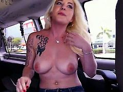 This is one of those blowjob movies filmed in the bus. A blonde girl with huge natural bazongas is getting fucked by a well built guy in the back of the bus, that's moving at full speed through the streets.