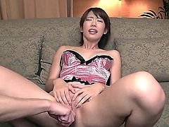 Skinny little Asian in lingerie is having her shaved, craving for attention fuck hole punished by some lovely toys, before she is fucked gives a nice blow to some rock solid joy sticks.