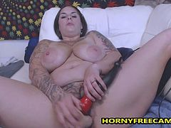 This nasty hairy BBW milf really enjoys fucking her big wet creamy hairy pussy really deep and hardcore using her big dildos.After she milked her nipples from her massive natural tits she stripped her panties showing her monster ass,oiled it and stated riding dildo in reverse cowgirl pose.She spread her legs and fucked her hairy cunt while vibrating her clit for super creamy orgasm.