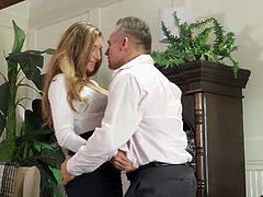 After a nice brunch, this respected businessman went to his office and seduced his sexy helper. She opened her legs wide for some pussy eating and then, her boss rammed his huge cock deep inside her warm and welcoming cunt.