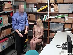 She had clearly been a bad girl. She is in the back room after she got caught stealing. How is she going to get out of this one? He will let her go, if she gets on her knees and sucks on his cock. Relax and have fun!