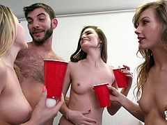 Would you love to play a game with a group of horny college students?! Whoever loses must strip. Of course you would. After all, being surrounded by a group of naughty girls about to strip naked, can only lead to one thing, an orgy! Just imagine having a group of girls waiting to suck your dick!