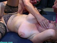 Blond slut with huge boobs Marina Montana is fucked by several dudes