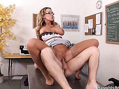 Blonde Nikki Sexx with big knockers is on the way to the height of pleasure with Danny Wyldes meat s