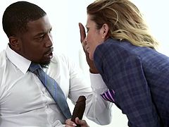All the hot black studs gather in the conference room so, sweet Jessica can suck on their big ebony penises. She loves to have BBC shoved down her throat. This is a lady who loves interracial gangbangs so much.