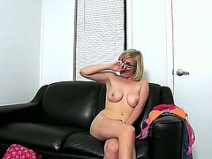 Bespectacled naked blonde Penny Pax with big natural tits and shaved puffy pussy  shows her naughty parts to curious guy and plays with her tight asshole. She toy fucks her butt after ass fingering.