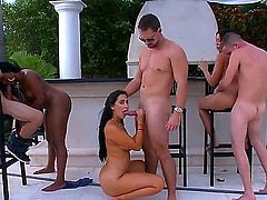 Three gorgeously sexy pornstars Rachel Starr, Valerie Kay and Cherie Magic all with killer bubble butts get their wet cunts drilled by stiff cocks side by side in crazy outdoor orgy.
