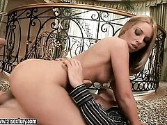 Blonde Debbie White fills the hole between her legs with toy for cam in solo action, Thenewporn.com