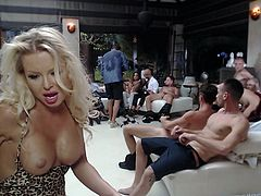 This love orgy looks like a lot of fun. The busty blonde milf invites you into Rocco's home to see all the action. There is plenty of pussy eating, blowjobs and hardcore action that you simply can't miss.