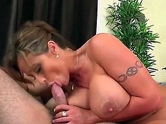 All milfs love chicken. This brunette, Eva is no excuse. She has a guy over for an interview, but she can't hold back as her tight twat screams for the guy's dick.