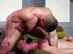 Muscled studs Damien and Eddy have no hang-ups when it comes to sex. In fact, it's a big turn on for them! See how they suck each other's cocks in an erotic sixty-nine, and take turns pounding each other's tight assholes, while another guy watches.