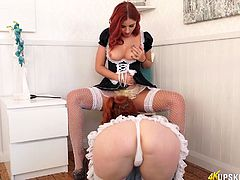 Two sexy chicks in maid uniform bends over and show their juicy pussies upskirt