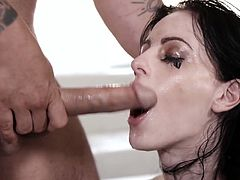 Bitch in sexy lingerie Alex Harper gives a mind blowing blowjob