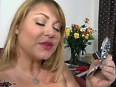 Beautiful BBW MILF Samantha licks her cocksicle