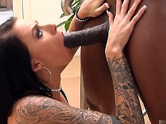 He stuffs her throat with his throbbing black pole, getting several sloppy, gooey blowjobs in between the fucking. The stylish slut wear an Oring mouth piece that allows shooting cum in Juelz gutter mouth convenient.