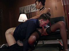 Sexy Venus opens her legs and makes her slave crawl toward her huge cock. He has to suck on her massive shemale cock and eat her deleicious cum. She wants to use his asshole and jizz inside of his tight butthole.