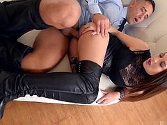 Sharon Lee likes to be the boss Her lover already knows that when shes wearing her high heel boots, hes to kiss her feet, working his way up to start licking her slit. Once shes wet, her lover gets to stick his dick deep inside her from behind. Kicking off her shoes, Sharon lets her lover lick her toes, drawing his tongue along the soft skin between her heels and pads, while she uses the other to stroke along his pussy slicked shaft. Once shes climaxed, he goes back to pumping her full of cum.