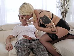Chad isn't feeling very good, and the best cure for him is to get fucked by a sexy shemale nurse. Isabella is a hot blonde who is going to make this dude cum hard. She bends over and he eats out her yummy asshole, while he strokes his huge dick.