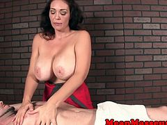 Busty mean masseuse tugging after teasing