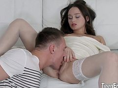 Brunette teen gets her tits sucked pussy licked and fingered by a guy Then she lets him fuck her pussy and asshole so deep and good in different positions He cuts in her mouth