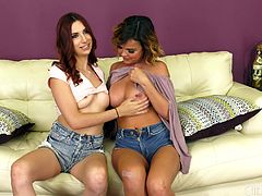 April Snow and Dillion Harper use vibrators to get off