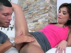 Sexy Kelly Kitty drops down on her knees to give Tyler a blow job. This petite teen loves swallowing cum so this is really enjoyable for her.