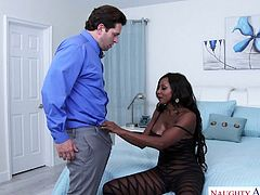Super hot black whore Diamond Jackson tries to cope with a big white dick