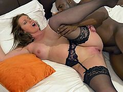 Holly has her pussy lips wrapped around a huge cock and she is cumming so hard because of that big black dick. Watch this mature white lady bounce up and down on that massive penis. She only wants to fuck and suck black guys now.