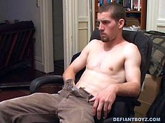 He strips down, while watching a porn video, and when his hard cock pops out a helping hand grabs it. Adam lets himself go and enjoys the hand job. After he pumps out a massive cum load his friend scoops some off his chest and feeds it to him.