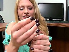 Cute long haired blonde Allie James in blue blouse strokes fat dick using both hands. She gives nice POV handjob man won't soon forget. Watch her warm hands polish his thick pole.
