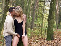 It really began as a romantic walk in the forest and no one imagined what it could lead to. Now, when she stands half naked under the tree, feeling his tongue on her wet pussy, she can not believe that all this is really happening. Must watch!