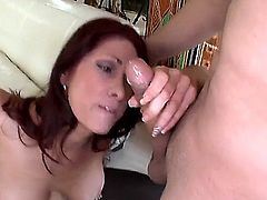 Redhead milf with nice legs and big tits, Tiffany Mynx is about to have her fanny smashe real nice and hard from the back by that young and strong ding dong. She just loves some chicken