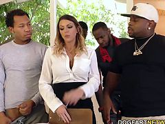 Estate agent Brooklyn Chase has new clients today. Five African-American bachelors. It doesn't take much cajoling for Brooklyn to give up her pretty, pink cunt. But our Bulls want more... Anal!