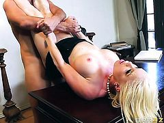 Blonde chica Nikki Delano with giant breasts spends time doing it with horny bang buddy Keiran Lee -