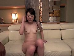 Small titty Japanese MILF spreads her legs and gets her bush fucked balls deep on the edge f the couch. Watch exotic mom with dripping wet hole get banged hardcore style!