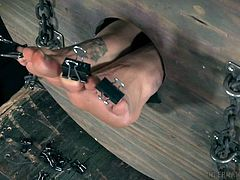 Hey, guys! You asked for something special and unusual, and we have already prepared for you just such a thing. Never before have we tried this extraordinary bondage device and for London River this is also the first time. We took one huge wooden barrel, one sexy babe and lots of clamps, and see what we got...