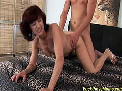 skinny redhead horny step mom loves to deepthroat a strong cock for a wild fuck lesson