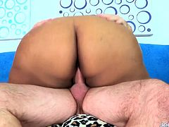 Ebony BBW and a mature guy kiss with each other She gives him a nice blowjob Then she gets her plump pussy fucked deep and good in many positions He cums in her mouth