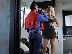 Whorish wife Simony Diamond is cheating on her husband with hot blooded lover