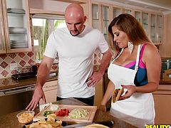 While Alessandra was trying to teach me how to cook a delicious dinner, I already found something that I would prefer to try right now. I could not concentrate on anything other than her huge, appetizing tits. As soon as possible, I needed to suck on those hard nipples and...